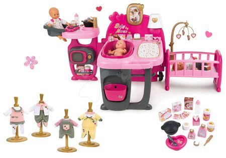 Set domeček pro panenku Baby Nurse Doll's Play Center Smoby a šaty pro 32 cm panenku 1 kus jako dárek