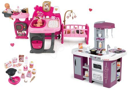 Komplet hišica za dojenčka Baby Nurse Doll's Play Center Smoby kuhinja Tefal Studio XL elektronska