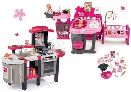 Komplet hišica za dojenčka Baby Nurse Doll's Play Center Smoby in kuhinja Tefal Super Chef Deluxe elektronska