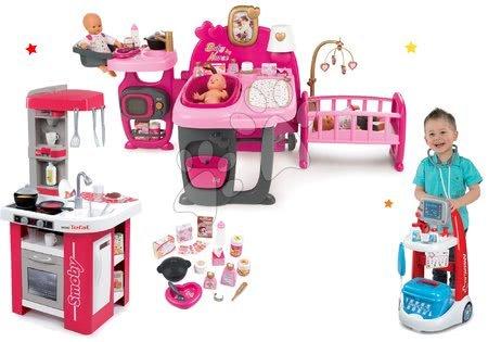 Komplet hišica za dojenčka Baby Nurse Doll's Play Center Smoby in kuhinja Tefal Studio elektronska in zdravniški voziček z zvokom