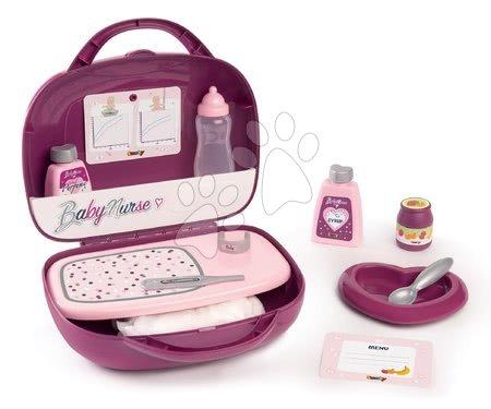 Dodatki za punčke in dojenčke - Kovček s potrebščinami za previjanje Violette Baby Nurse Smoby za dojenčka z 12 dodatki