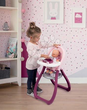 Bábiky s doplnkami sety - Set bábika Minikiss Smoby 27 cm jedálenská stolička kolíska s kolotočom a hlboký kočík pre bábiku (56 cm rúčka) od 18 mes_1