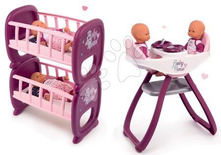 Set jídelní židle a houpačka pro dvojčata Violette Baby Nurse Smoby a patrová postel