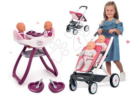 Set jídelní židle a houpačka pro dvojčata Violette Baby Nurse Smoby a sportovní kočárek Maxi Cosi pro dvě panenky