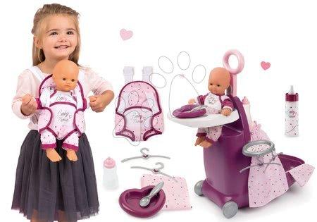 Set přebalovací kufřík s postýlkou a židličkou Violette Baby Nurse Smoby a panenka 32 cm s nosičem a láhví mléka