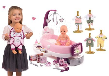 Set pečovatelské centrum pro panenku Violette Baby Nurse Smoby s nosičem a šatičkami pro 32 cm panenku