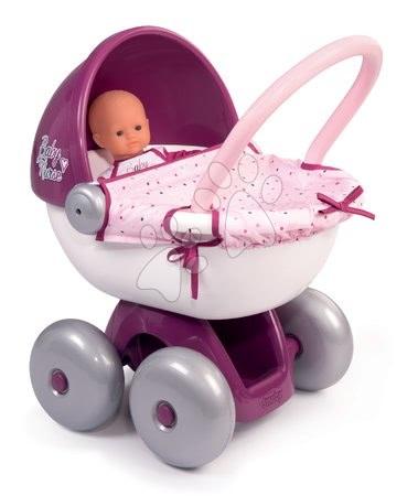 Globoki voziček s tekstilom Violette Baby Nurse Smoby s tihim hodom in ergonomskim 55 cm visokim ročajem od 18 mes