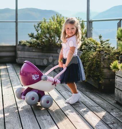 Bábiky s doplnkami sety - Set bábika Minikiss Smoby 27 cm a hlboký kočík s textilom Baby Nurse pre bábiku (56 cm rúčka) od 18 mes_1