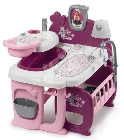 Játékbabák gyerekeknek - Babacenter játékbabának Violette Baby Nurse Large Doll's Play Center Smoby háromrészes 23 kiegészítővel (konyhácska, fürdőszoba, hálószoba)_1