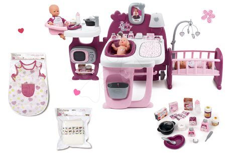 Játékbabák gyerekeknek - Szett babacenter Violette Baby Nurse Large Doll's Play Center Smoby és pizsama pelusokkal