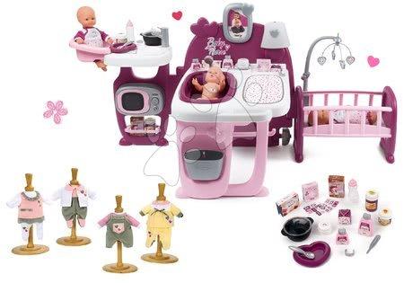 Játékbabák gyerekeknek - Szett babacenter Violette Baby Nurse Large Doll's Play Center Smoby és ruhácska 32 cm játékbabára 1 darab ajándékba