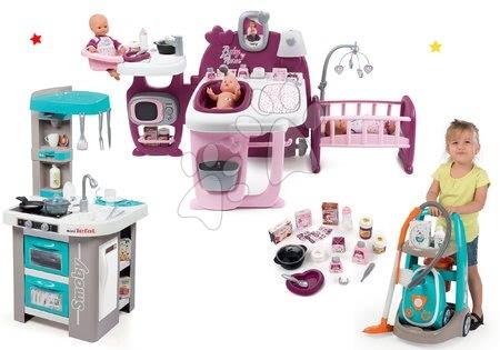 Set căsuță pentru păpușa Baby Nurse Doll's Play Center Smoby bucătărie Tefal Studio Bubble cu cărucior de curățenie și aspirator electric