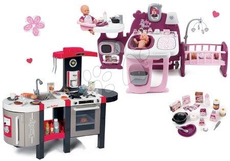 Set căsuță pentru păpușa Baby Nurse Doll's Play Center Smoby și bucătărie Tefal Super Chef Deluxe electronică