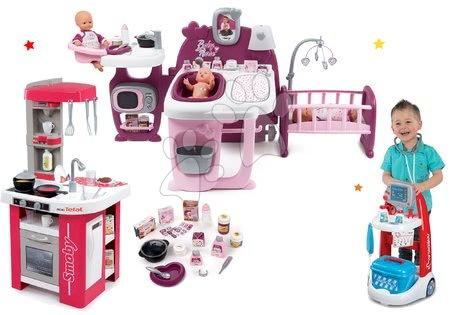 Set căsuță pentru păpușa Baby Nurse Doll's Play Center Smoby și bucătărie electronică Tefal Studio, cărucior medical cu sunete