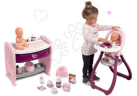 Szett babaágy gyerekágy mellé pelenkázó pulttal Violette Baby Nurse 2in1 Smoby pisilő játékbabával és etetőszék