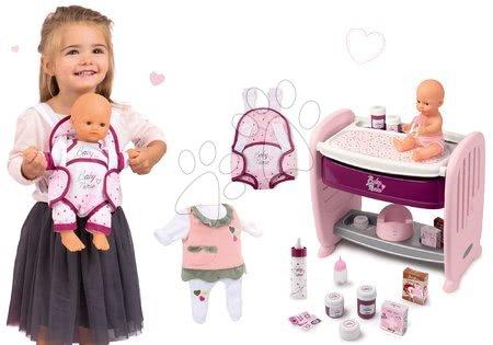 Szett babaágy gyerekágy mellé pelenkázó pulttal Violette Baby Nurse 2in1 Smoby pisilő játékbabával és babahordozó, cumisüveg és ruhácska