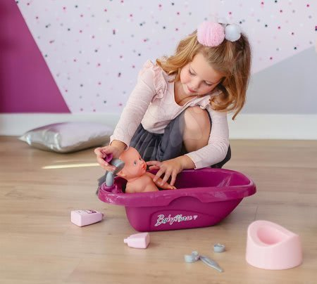 Dodatki za punčke in dojenčke - Banjica s kahlico in kozmetiko Violette Baby Nurse Smoby z 8 dodatki za dojenčka do 42 cm_1