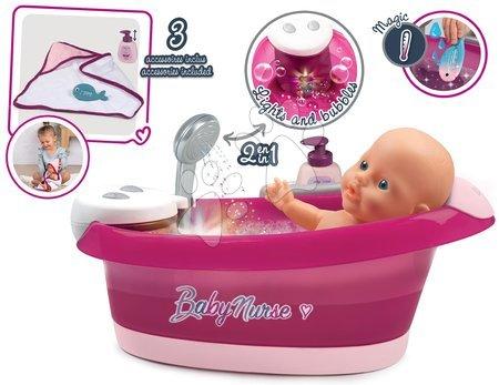 Doplňky pro panenky - Vanička s tekoucí vodou elektronická Violette Baby Nurse Smoby s jacuzzi koupelí a Led osvětlením pro 42 cm panenku