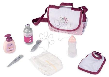 Dodatki za punčke in dojenčke - Previjalna torba s pleničko Violette Baby Nurse Smoby s 7 dodatki in nastavljivo naramnico