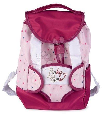Dodatki za punčke in dojenčke - Nahrbtnik z nosilko za 42 cm dojenčka Violette Baby Nurse Smoby in z etuijem za stekleničko nastavljive naramnice