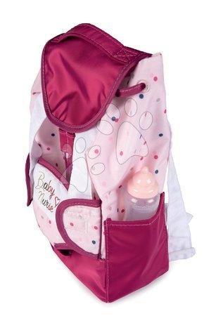 Dodatki za punčke in dojenčke - Nahrbtnik z nosilko za 42 cm dojenčka Violette Baby Nurse Smoby in z etuijem za stekleničko nastavljive naramnice_1