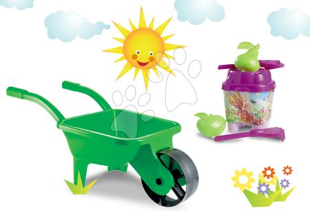 ÉCOIFFIER 541-9 zelený detský fúrik na záhradu a vedro set Barbie s krhlou od 18 mesiacov