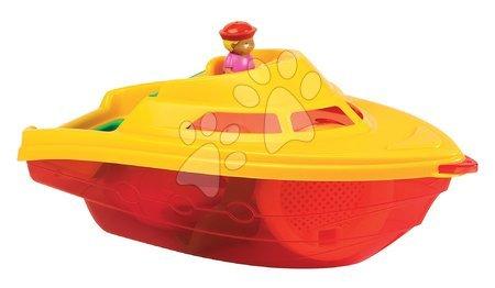 Vapoare pentru nisip - Barcă cu motor cu set de găleată Écoiffier cu 6 accesorii (35 cm lung) roşu-galben de la 18 luni