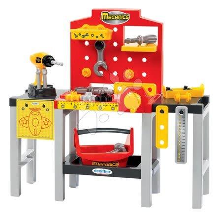 Pracovní dětská dílna - Pracovní dílna Mecanics Écoiffier s nářadím a 32 doplňky červená od 18 měsíců