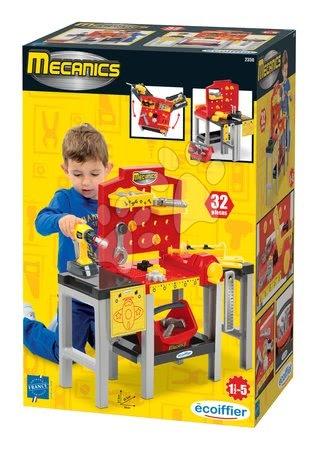 Pracovní dětská dílna - Pracovní dílna Mecanics Écoiffier s nářadím a 32 doplňky červená od 18 měsíců_1