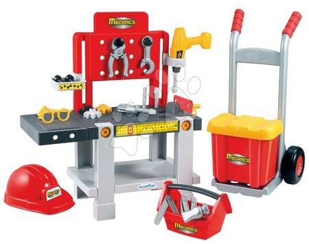 Pracovní dětská dílna - Pracovní dílna Mecanics Écoiffier s rudlem a přilbou červená od 18 měsíců_1