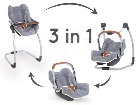 Kočíky pre bábiku - Jedálenská stolička s autosedačkou a hojdačkou DeLuxe Pastel Maxi Cosi&Quinny Grey Smoby trojkombinácia s bezpečnostným pásom
