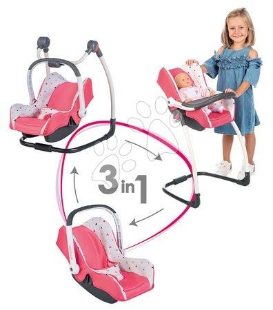 3-kombinácia hojdačka autosedačka stolička Trio Pastel Maxi Cosi&Quinny Smoby pre bábiku ružová trojuholníková