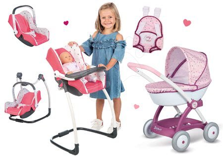 Játékbabák gyerekeknek - Szett etetőszék, autóülés és hinta Trio Pastel Maxi Cosi&Quinny Smoby és mély babakocsi Baby Nurse babahordozóval
