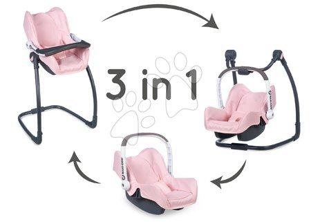 Kočíky pre bábiku - Jedálenská stolička s autosedačkou a hojdačkou Powder Pink Maxi Cosi&Quinny Smoby trojkombinácia s bezpečnostným pásom