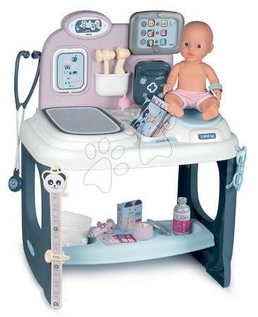Medicinska kolica za djecu - Medicinski pult za liječnika Baby Care Center Smoby elektronički sa zvukom i svjetlom i lutka s 28 dodataka