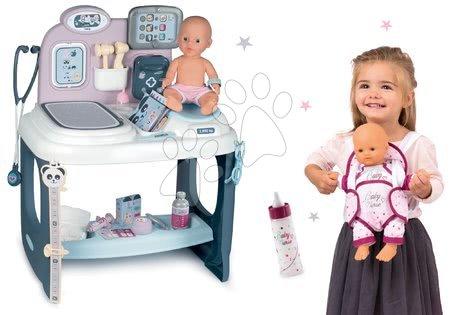 Medicinska kolica za djecu - Set medicinski stolić Baby Care Center Smoby s bočicom i nosiljkom za lutku