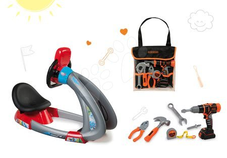 Set detský trenažér V8 Driver Smoby elektronický so zvukom a svetlom a pracovné náradie Black&Decker v taške