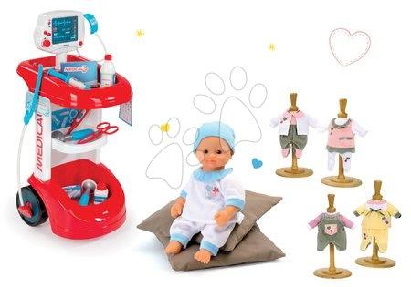 Set lekársky vozík Smoby so zvukom, tlakomerom a 12 doplnkami a bábika Baby Nurse a tri šatôčky