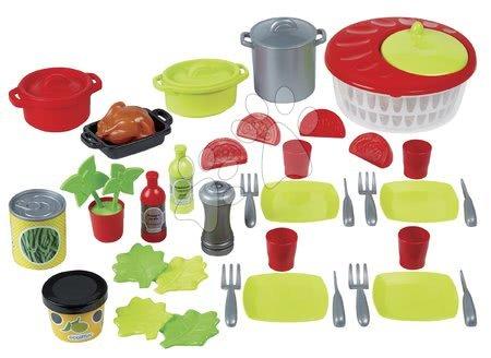 Riadíky a doplnky kuchynky - Obedová súprava so šalátom 100% Chef Écoiffier bodkovaná s hrncami a potravinami 43 doplnkov od 18 mes