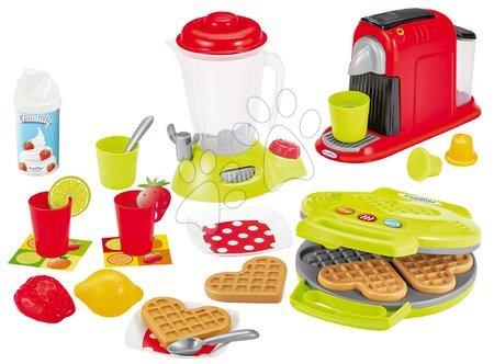 Riadíky a doplnky kuchynky - Vaflovač s mixérom a kávovarom Small Household Appliances Écoiffier s vaflami a 24 doplnkov od 18 mes