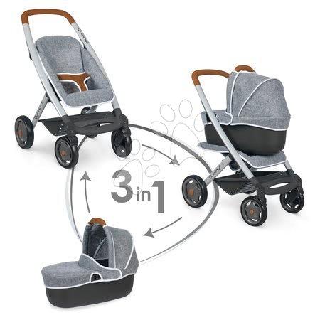 Medicinska kolica za djecu - Set medicinski stolić Baby Care Center Smoby sa sportskim i dubokim kolicima 3u1 DeLuxe Maxi Cosi Grey_1