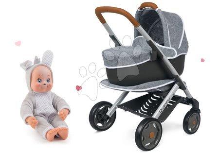 Panenky pro děti - Set kočárek hluboký a sportovní DeLuxe Pastel Maxi Cosi&Quinny Grey 3v1 Smoby a panenka v kostýmu Zajíček Animal Doll MiniKiss 27 cm se zvukem