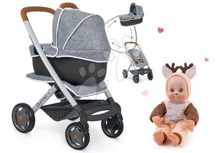 Panenky pro děti - Set kočárek hluboký a sportovní DeLuxe Pastel Maxi Cosi&Quinny Grey 3v1 Smoby a panenka v kostýmu Srneček Animal Doll MiniKiss 27 cm se zvukem