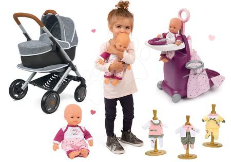 Set cărucior adânc și sportiv DeLuxe Pastel Maxi Cosi&Quinny Grey 3în1 Smoby și păpușa Violette cu trei hăinuțe și centru de îngrijre