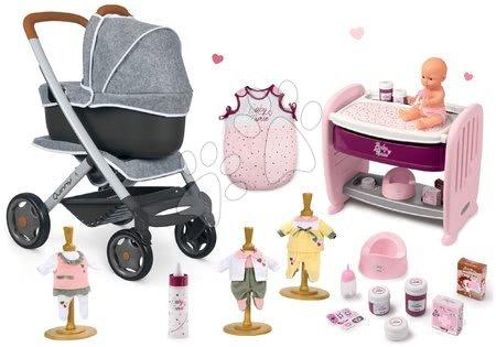 Szett mély és sport babakocsi DeLuxe Pastel Maxi Cosi&Quinny Grey 3in1 Smoby és babaágy gyerekágyhoz pisilő játékbabával, 3 ruhácska, cumisüveg és alvózsák