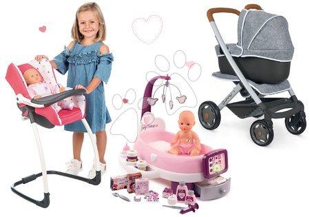 Set cărucior adânc și sportiv DeLuxe Pastel Maxi Cosi&Quinny Grey 3în1 Smoby și scăunel scaun de mașină cu leagăn și centru de îngrijire