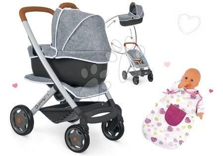 Vozički za punčke in dojenčke - Komplet globoki in športni voziček DeLuxe Pastel Maxi Cosi&Quinny Grey 3v1 Smoby in spalna vreča Baby Nurse za 42 cm dojenčka