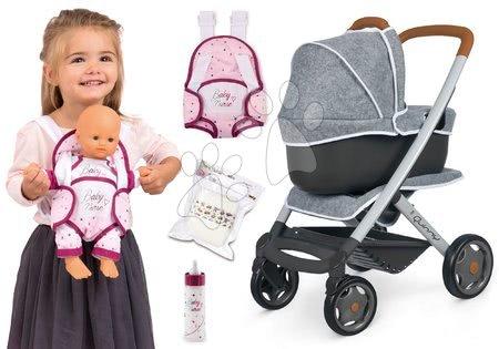 Vozički za punčke in dojenčke - Komplet športni in globoki voziček DeLuxe Pastel Maxi Cosi&Quinny Grey 3v1 Smoby in ergonomska nosilka s pamperskami in steklenička z mlekom Baby Nurse