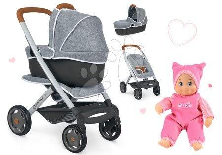 Panenky pro děti - Set kočárek hluboký a sportovní DeLuxe Pastel Maxi Cosi&Quinny Grey 3v1 Smoby a panenka MiniKiss se zvukem