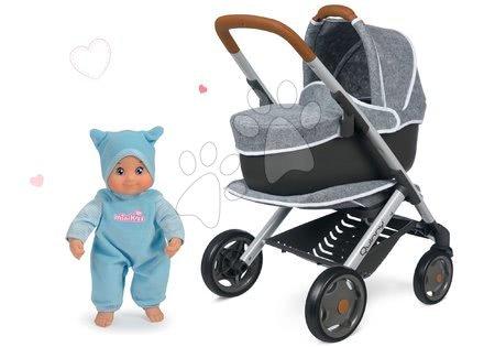 Panenky pro děti - Set kočárek hluboký a sportovní DeLuxe Pastel Maxi Cosi&Quinny Grey 3v1 Smoby a modrá panenka MiniKiss se zvukem